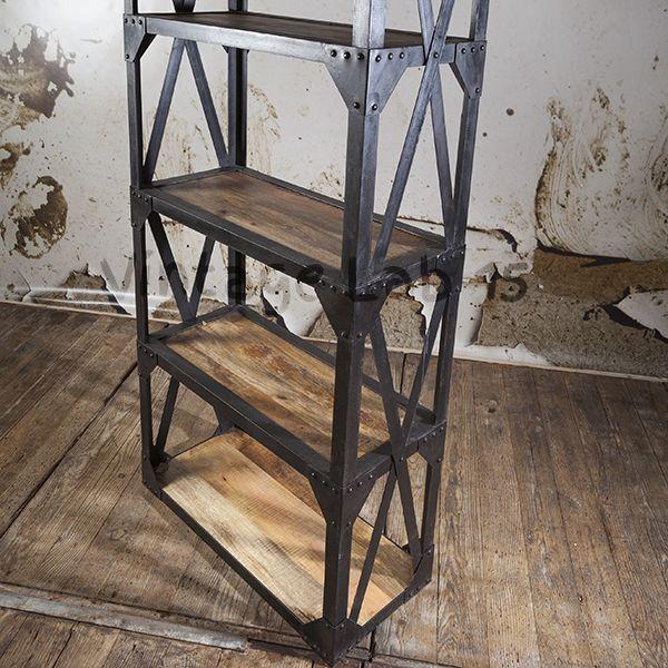 Industri le stelling kast - Boekenkast hout en ijzer ...